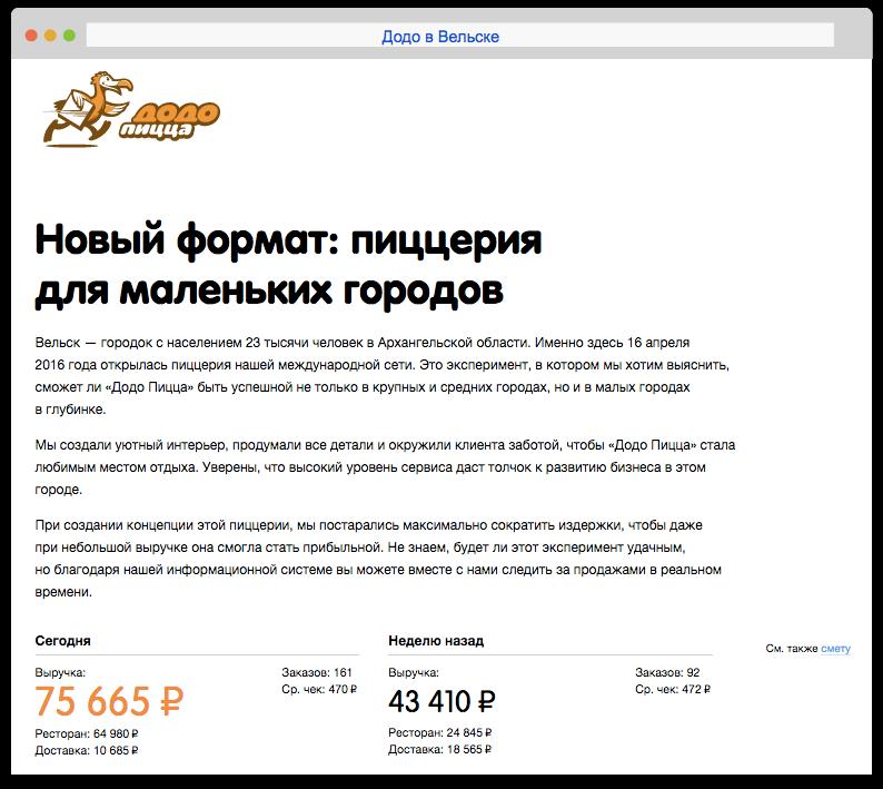 Смотрите выручку онлайн: dodovelsk.ru